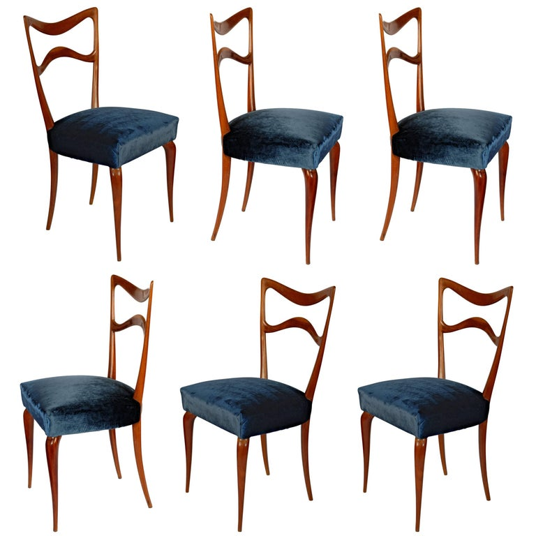 Guglielmo Ulrich, Set of Six Sculptural Dining Chairs, Mahogany solidwood, 1940s
