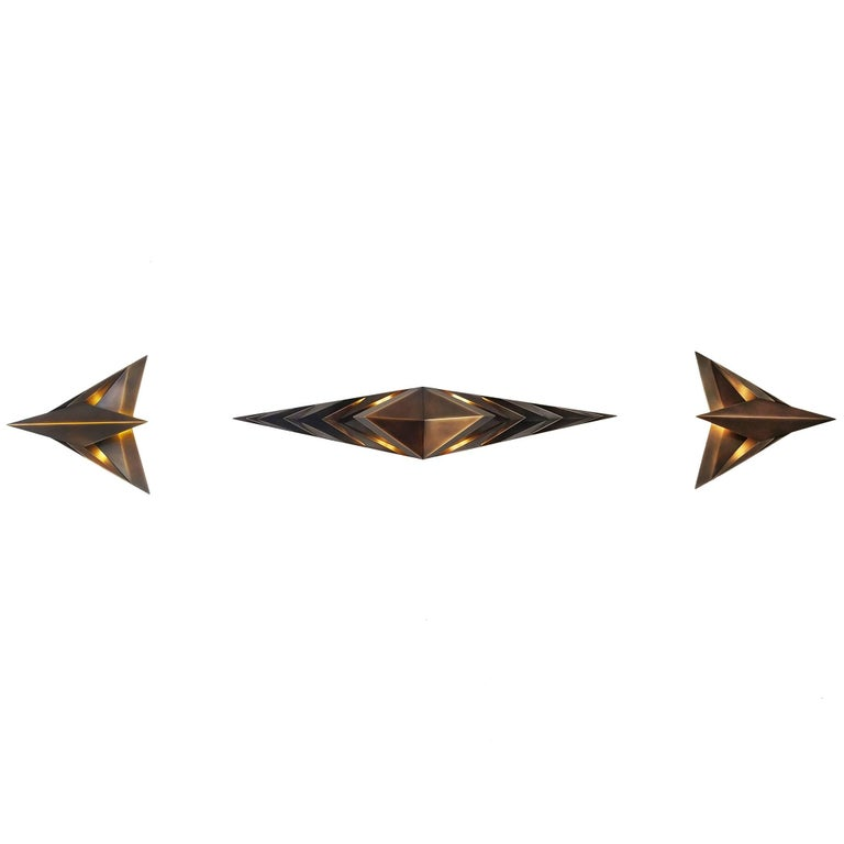 Parenthetical Light, Bronze Wall Sconce Trio by Force/Collide For Sale