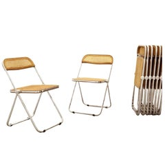 Giancarlo Piretti, Rare Set of Ten Wood and Caning 'Plia' Folding Chairs