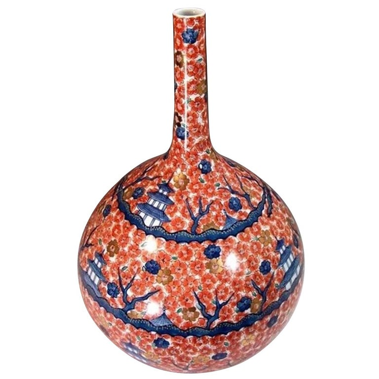 Large Japanese Hand-Painted Red Imari Porcelain Vase by Master Artist For Sale