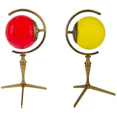 """Pair of """"Incamiciato"""" Murano Glass and Brass Table Lamps, Italy, 1950s"""