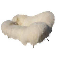 Exclusive Re-Upholstered Fritz Neth Sofa, Nordlandic Sheep Fur