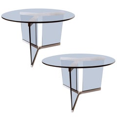 Pair of Fontana Arte Glass and Nickel-Plated Side Tables, 1960s
