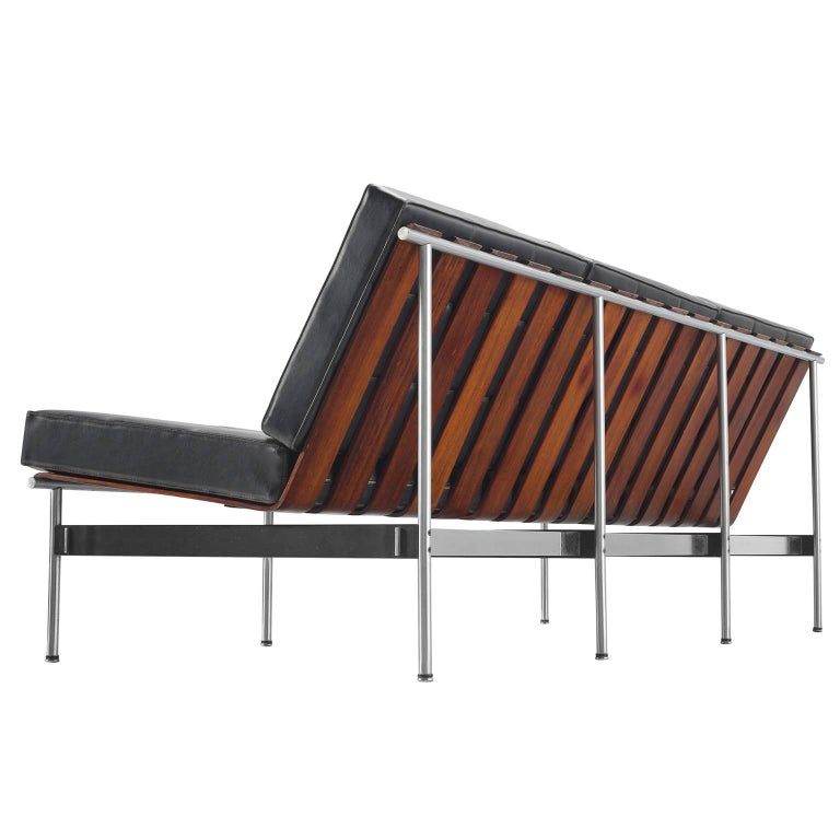 Kho Liang Le for Artifort Sofa in Rosewood and Leatherette