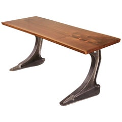 Industrial Live Edge English Elm Desk Table
