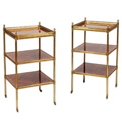 Pair of English 20th Century Side Tables of Tulipwood and Gilt Brass