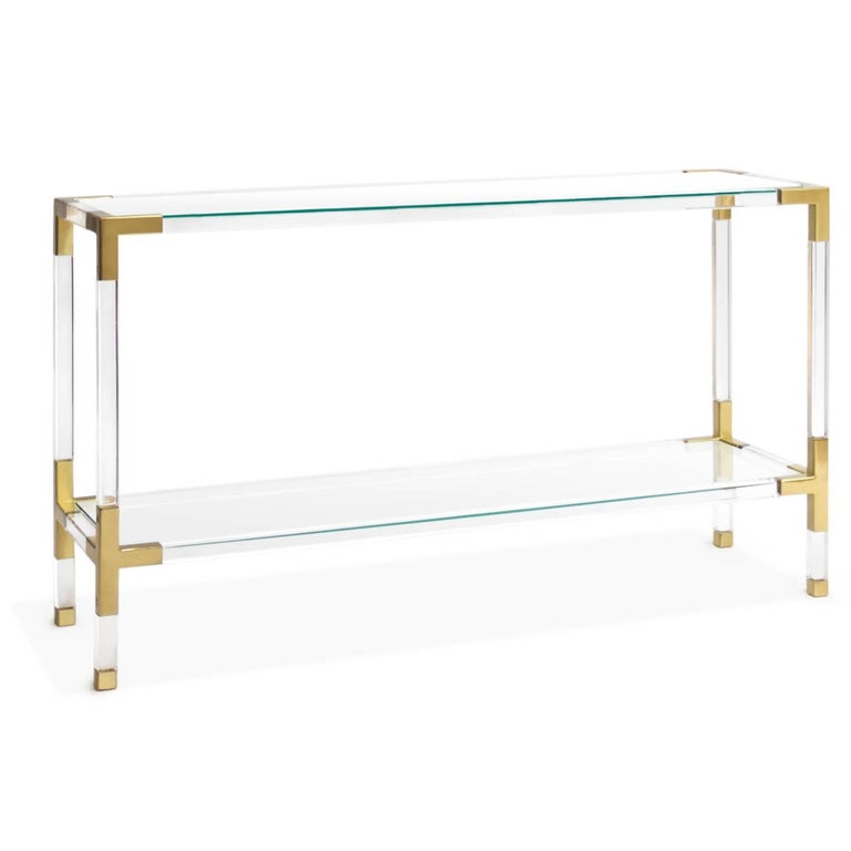 Mid-Century Modern Jacques Acrylic and Brass Console by Jonathan Adler For Sale