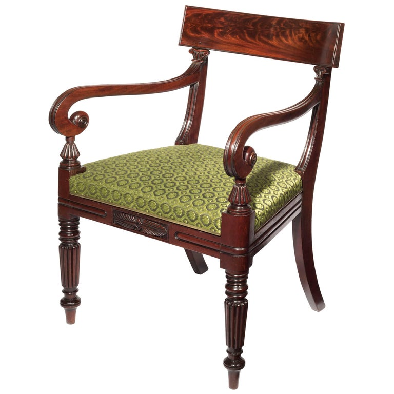 Early 19th Century English Regency Carved Mahogany Desk Chair