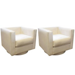 Set of Two White Upholstered Tuxedo Swivel Chairs by Harvey Probber