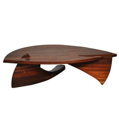 Sculptural Stacked Walnut Coffee Table by American Craftsman H. Wayne Raab