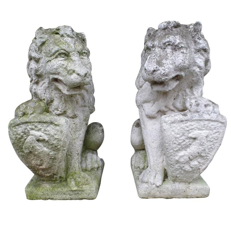Pair of French 19th Century Hand-Carved Stone Sculptures of Lions For Sale