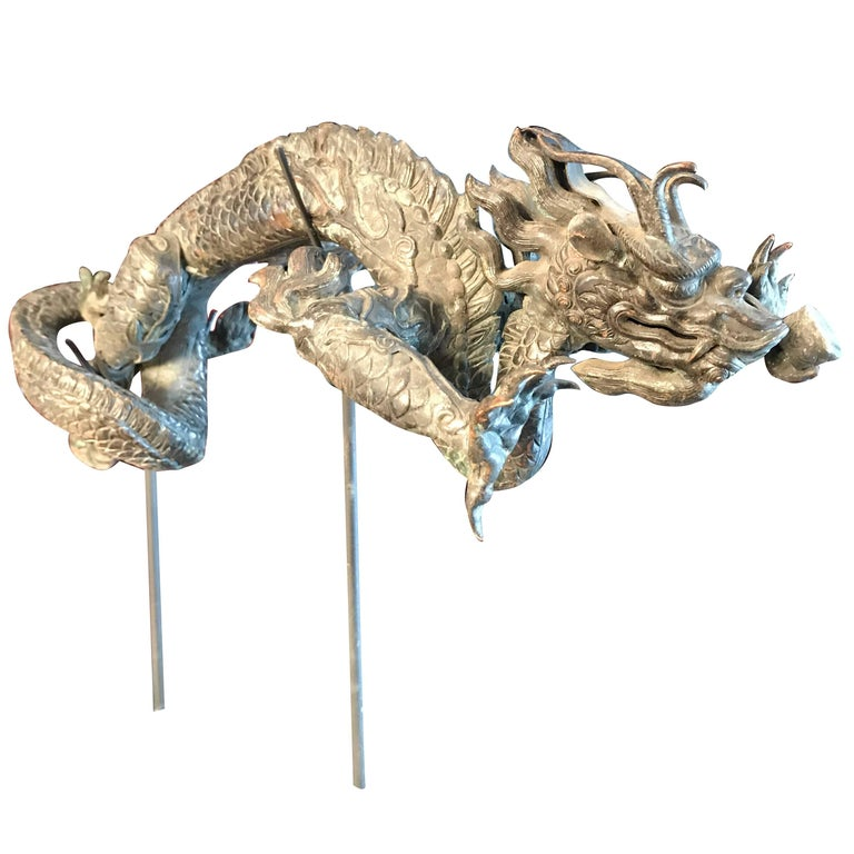 """Chinese Antique Imperial """"5 Claw"""" Dragon Bronze Sculpture"""