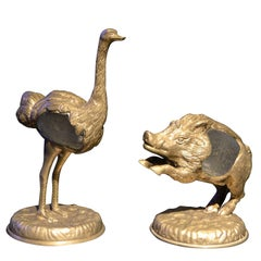 1970s Bronze Ostrich and Boar by Gabriella Crespi
