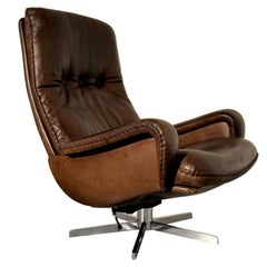 Vintage James Bond De Sede Swivel Lounge Armchair, 1960s