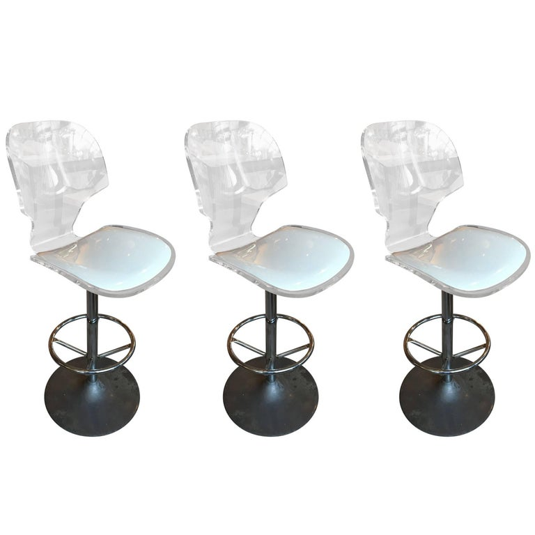 Set of 3 Lucite Swivel Bar Stools, Aluminum Tulip Base by Hill Manufacturing
