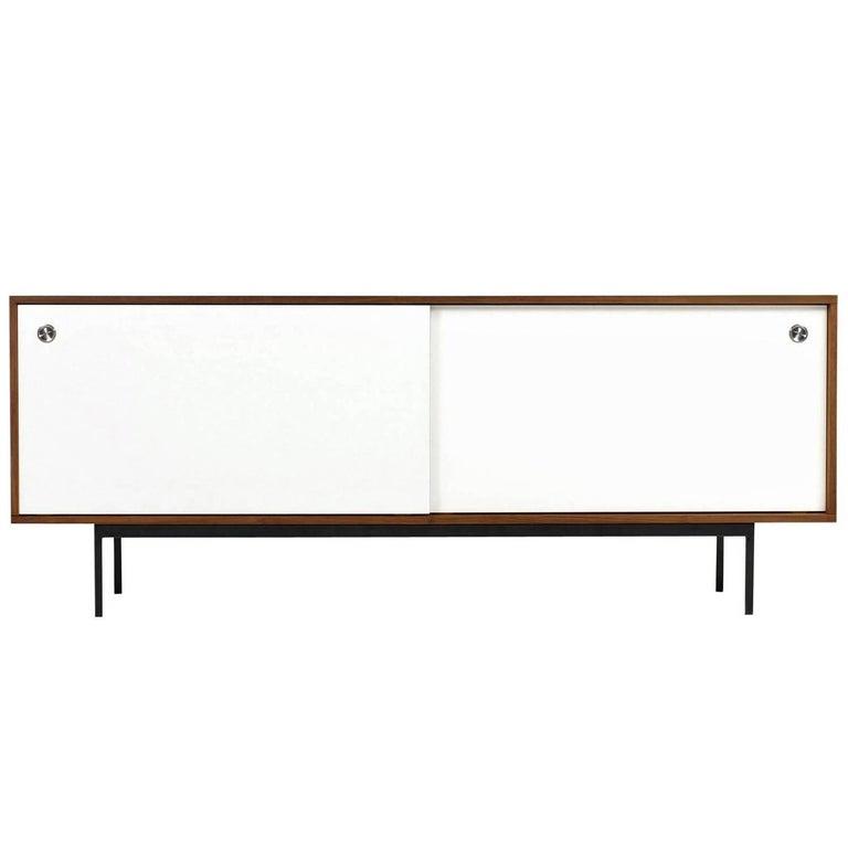 Minimalist Teak Sideboard Nathan Lindberg Design, White Formica Sliding Doors