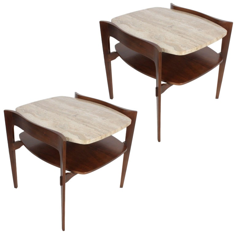 Pair of Bertha Schaefer Italian End Tables For Sale