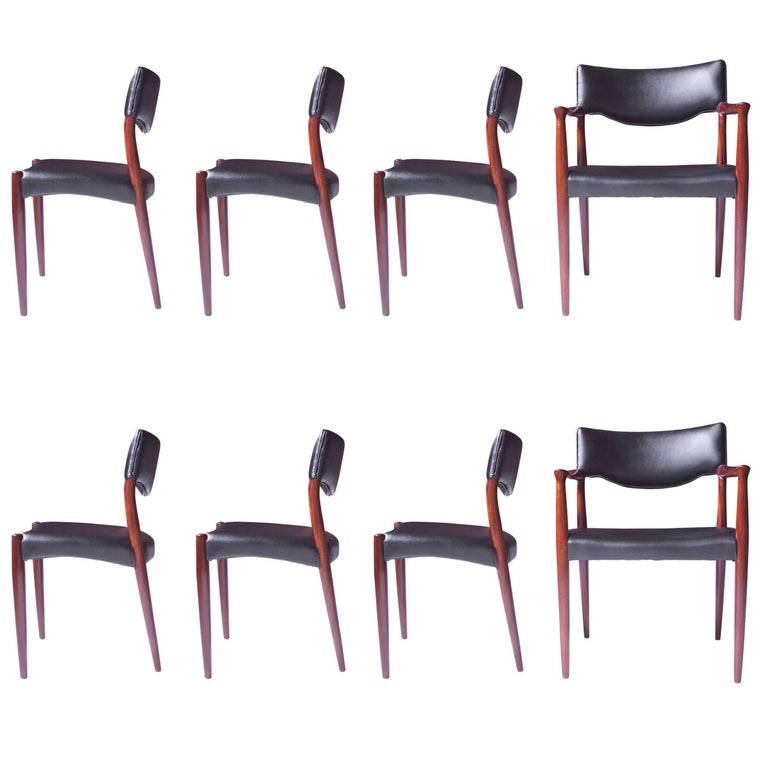 Set of Eight Teak Dining Chairs by Aksel Bender Madsen & Ejner Larsen, 1952