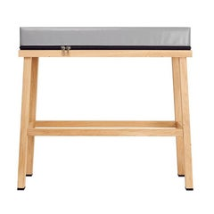 Visser and Meijwaard Truecolors High Bench in Grey PVC Cloth with Zipper Detail