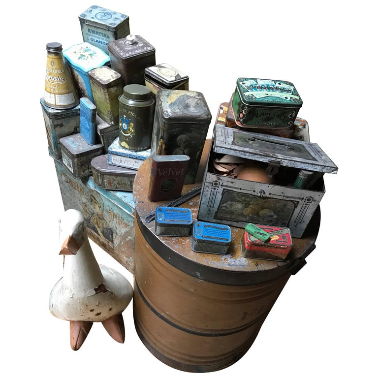 """Collection of Tins and a Tin Duck circa 1900 Total 27 Items """"Crazy"""" Decoration For Sale"""