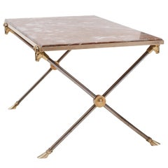 Maison Ramsay Brass, Nickel and Marble Coffee Table