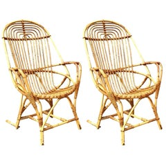 Pair of French Sculptural Rattan Chairs