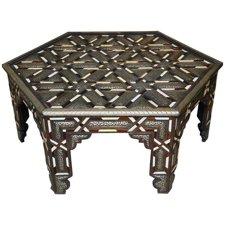 Superb Hexagonal Moroccan Coffee Table At 1stdibs