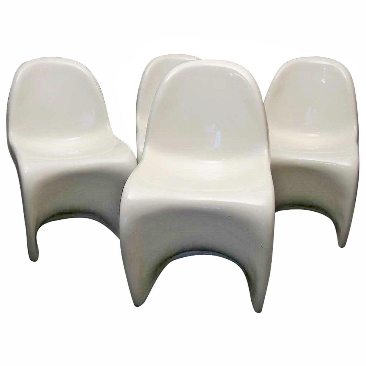 Verner Panton White Chairs, 1960