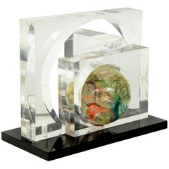French Fractured Resin and Lucite Sculpture