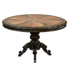 19th Century British Colonial Pedestal Table with Inlaid Top