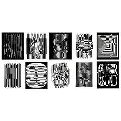"""Set of Ten Original Victor Vasarely """"Lineaires"""" Prints"""