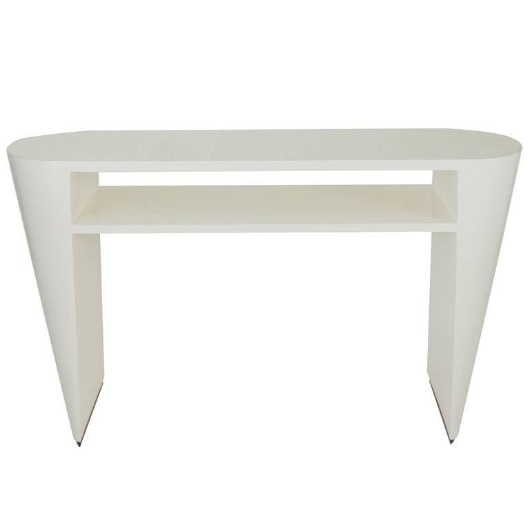 Art Deco White Lacquered Console Table