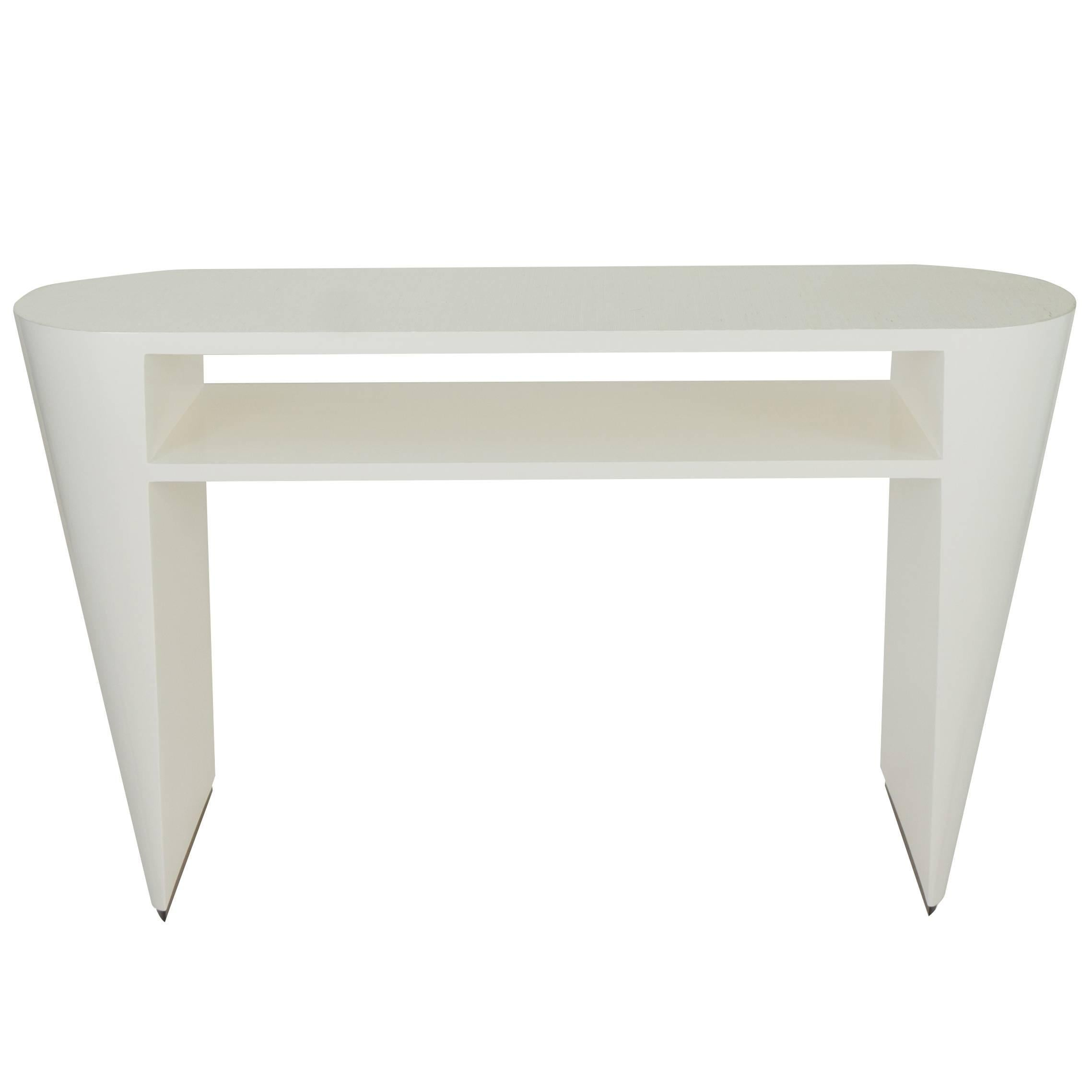 Art Deco White Lacquered Console Table With Grasscloth Top