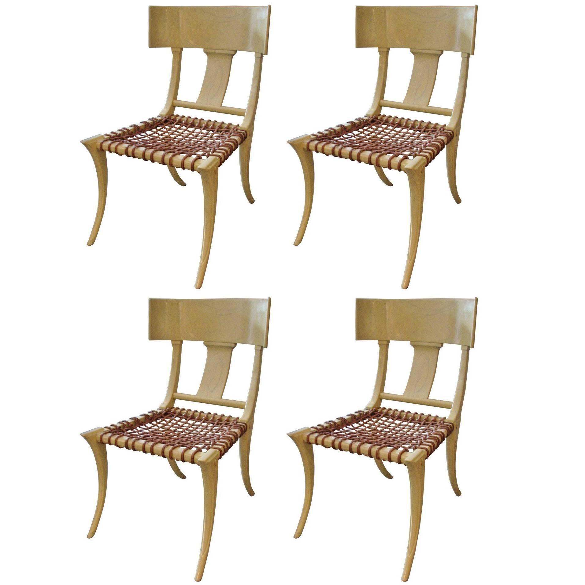 T.H. Robsjohn-Gibbings Inspired Limed/Cerused Oak Klismos Chairs
