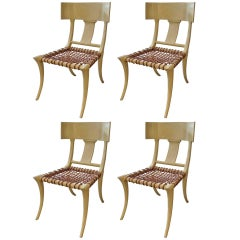 T.H. Robsjohn-Gibbings Inspired Limed/Cerused Oak Klismos Chairs