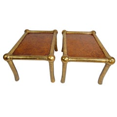 Pair of Drexel Burl and Gilt Gold End Tables