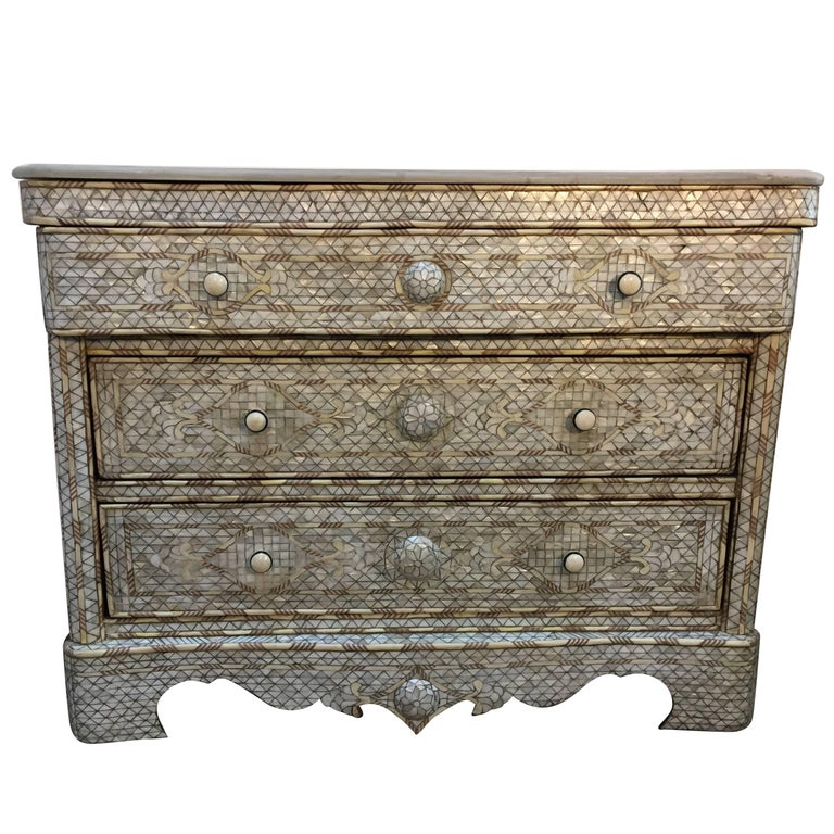 White Syrian Wedding Chest of Drawers Inlay with Mother-of-Pearl