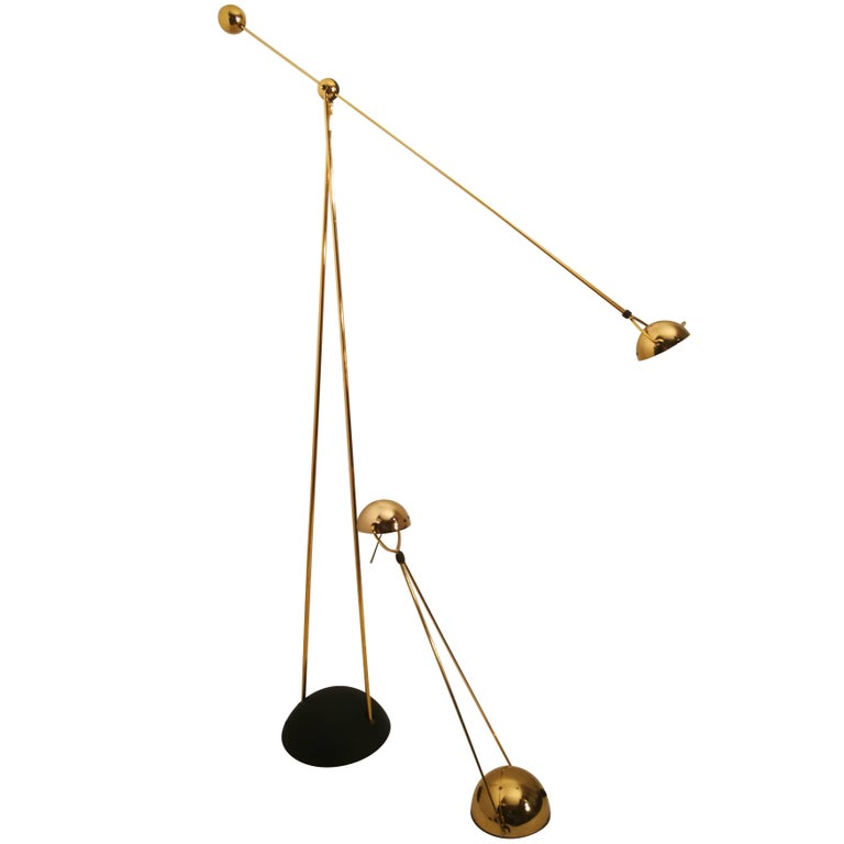 Halogen Floor and Table Lamp from Stephano Cevoli Gold-Plated, 1980s, Italy