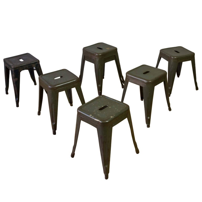French 20th Century, Set of Seven Stackable Metal Air Force Stools