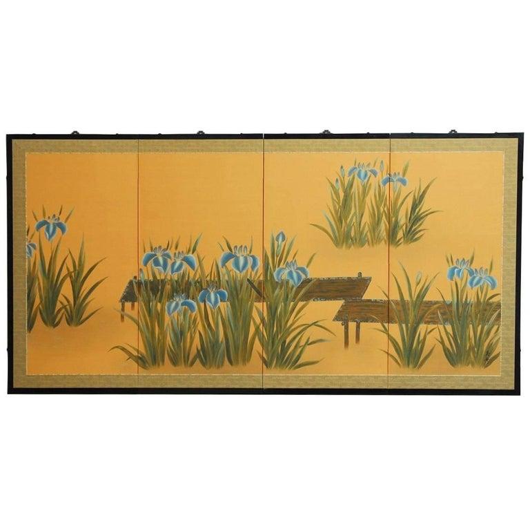 Japanese Four-Panel Folding Byobu Screen of Iris Pond