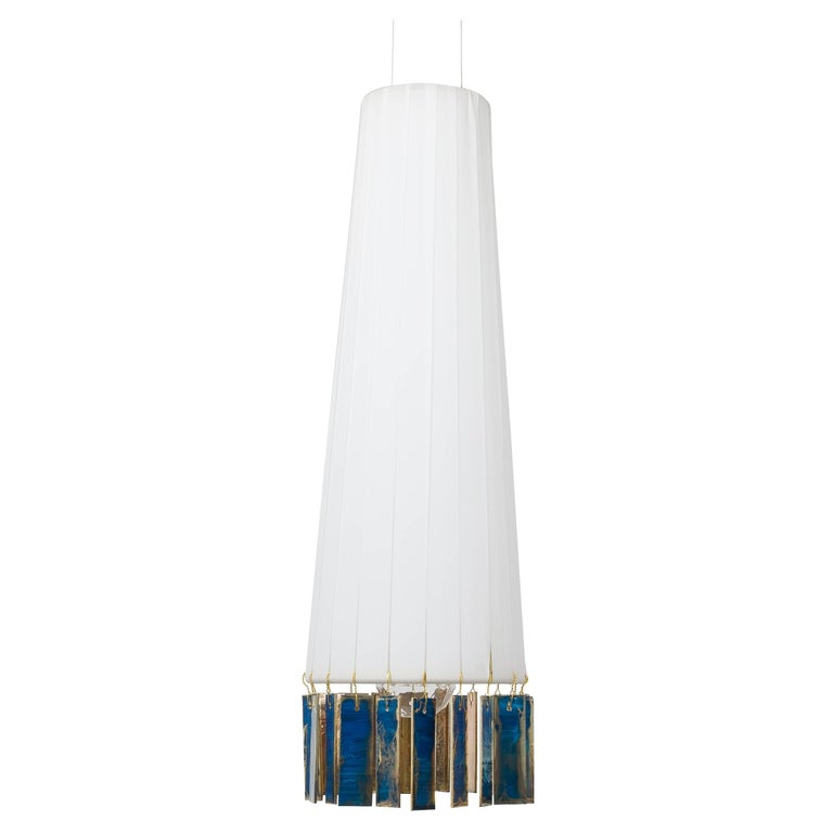 """Magic"" Hanging Lamp in Brass, White, Sky Double Face Silvered Glass Sheet"