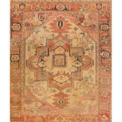 Late 19th Century Beige Persian Serapi Carpet