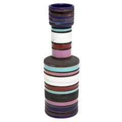 Aldo Londi Ceramic Vase Bitossi Raymor Blue Violet Stripes Signed, Italy, 1960s