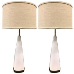 Pair of Italian White Ceramic Lamps