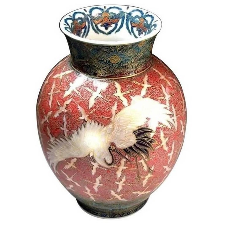Large Japanese Hand-Painted Decorative Porcelain Vase by Kinsai