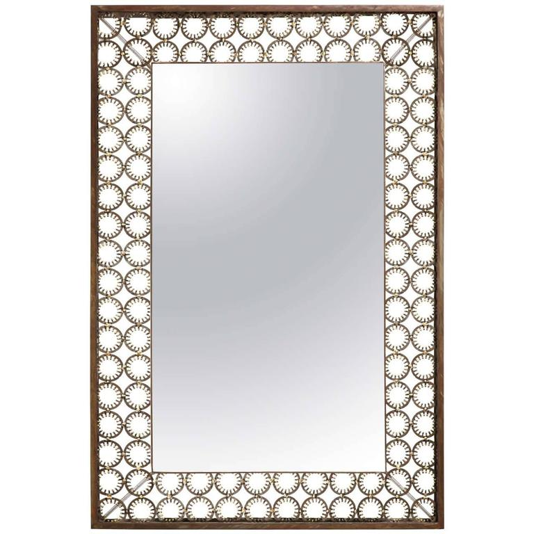 Marie Suri Iron and Bronze Ovation Mirror For Sale