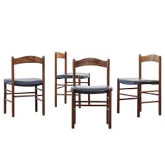 Set of Four Dining Chairs Scandinavian Danish Teak, 1960 Design Midcentury
