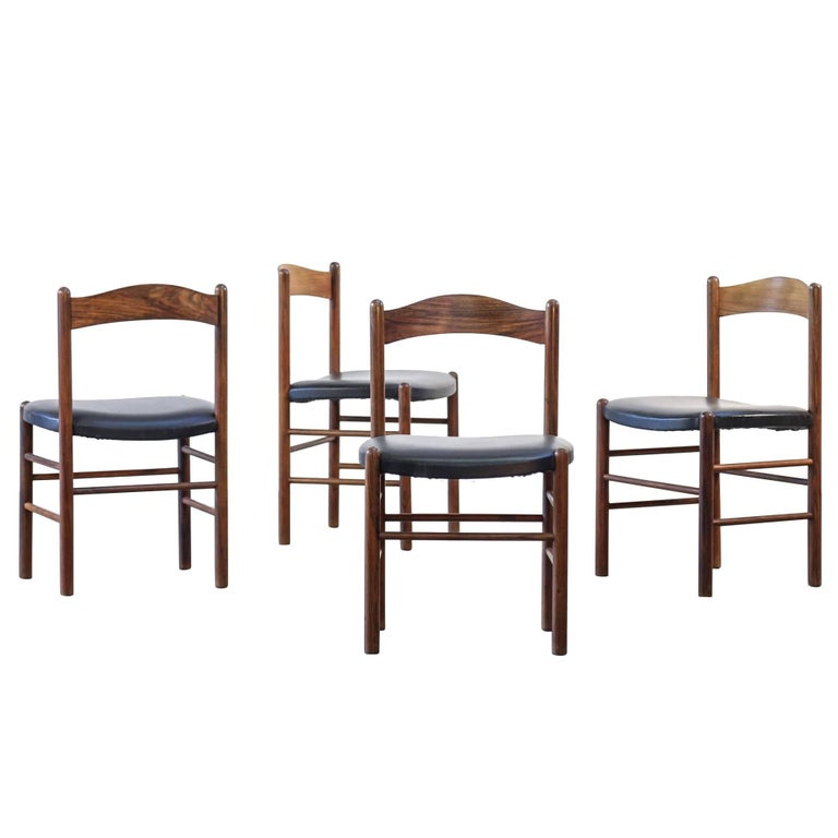Scandinavian Dining Room Chairs: Set Of Four Dining Chairs Scandinavian Danish Teak, 1960
