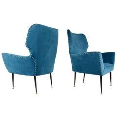 Pair of Italian Mid-Century Vintage Armchairs, 1950s