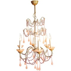 Boudoir Chandelier with Handblown Rose Glass Droplets and Beads, circa 1920